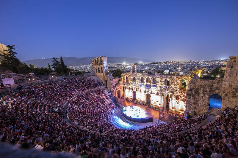 The Odeon of Herodes Atticus is a theater located on the southwest slope of the Acropolis of Athens.