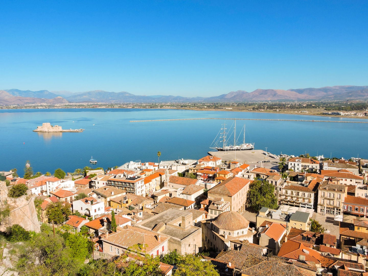 Overview photo of Nafplio in Argolis. Nafplio is a beachfront city and first capital of free Greece.