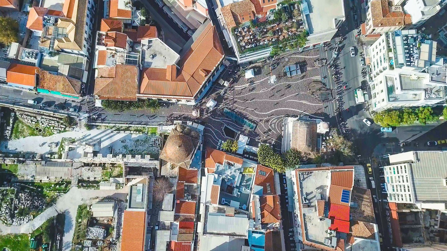 Overhead view of the Monastiraki square during the day, in the center of Athens, Greece