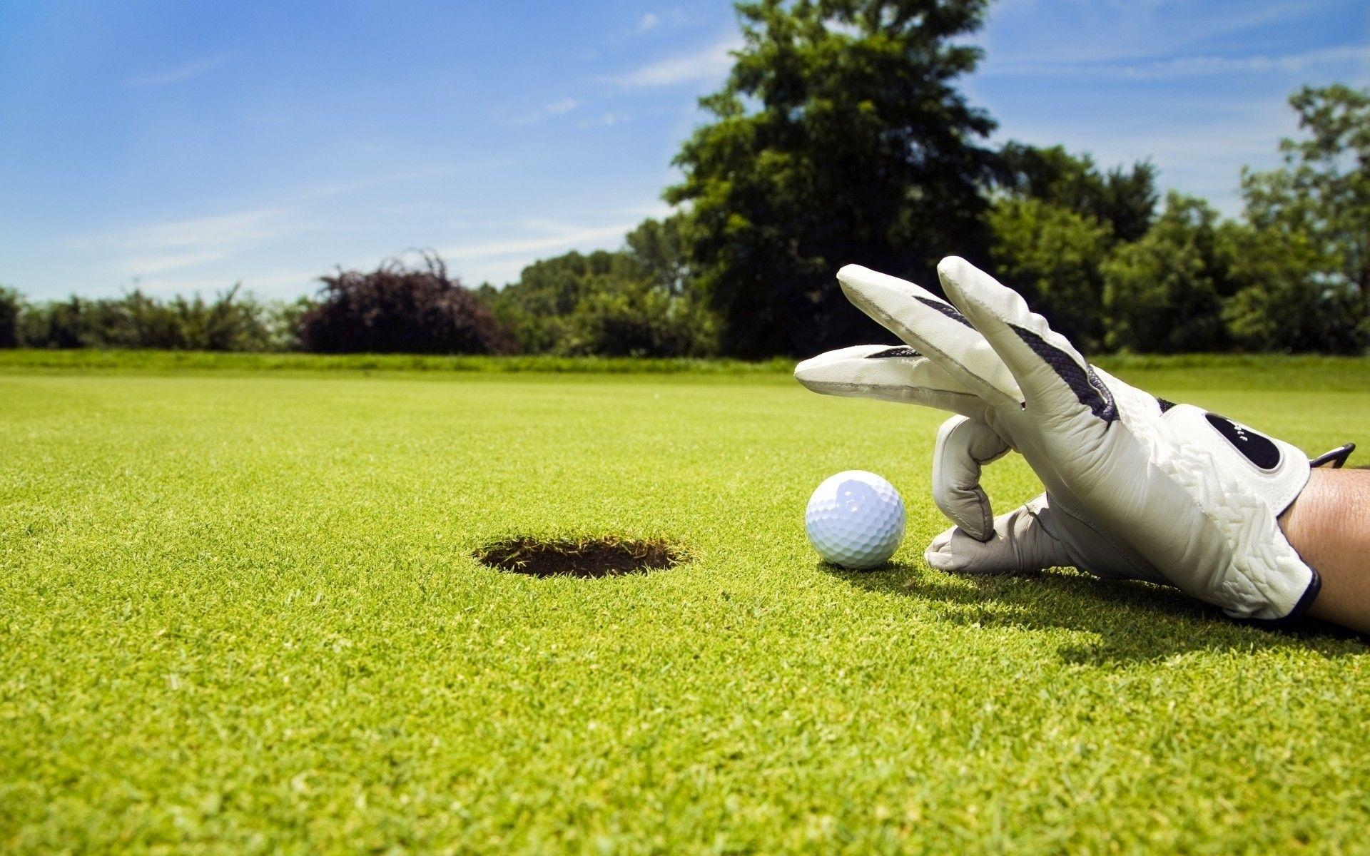 Hand on the green wearing a golfer's glove about to flick the golf ball into the hole.
